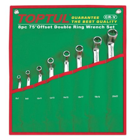 TOPTUL 8 Piece 75 Degree Offset Double Ring Wrench Set