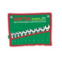 TOPTUL 10 Piece Midget Combination Wrench Set 15D Offset