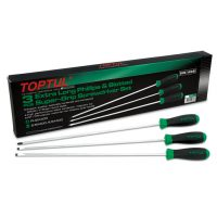 TOPTUL 3 Piece Slotted & Phillips Super-Grip Screwdriver Set