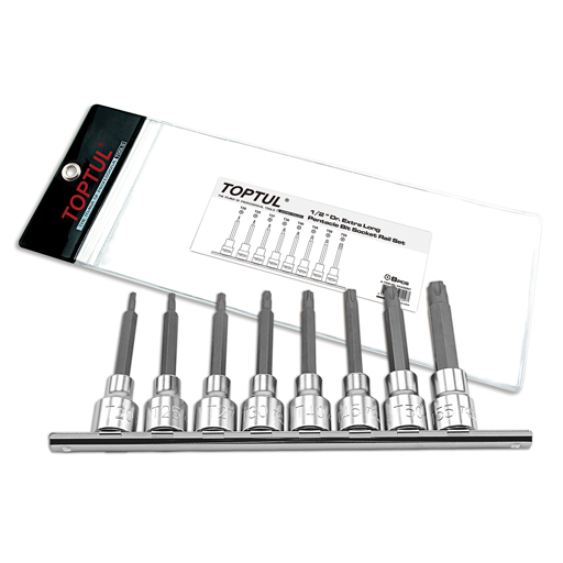 TOPTUL 1/2($) Dr. 8 Piece Pentacle Bit Set On Rail