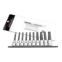 TOPTUL 10 Piece 1/2($) Dr. Long Ribe Bit Set On Rail