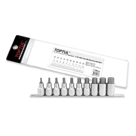 TOPTUL 10 Piece 1/2($) Dr. Hex Bit Set On Rail