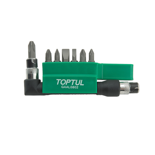 TOPTUL 8 Piece 1/4($) Dr. Phillips/ Pozi/Slotted Bit Set