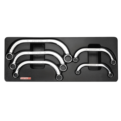 TOPTUL 5 Piece Half-Moon Ring Wrench Set