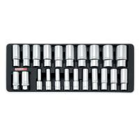 TOPTUL 22 Piece 6PT 1/2($) Dr. Deep Flank Socket Set