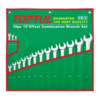TOPTUL 16 Piece Standard Combination Imperial Wrench Set