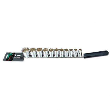 TOPTUL 1/2($) Dr. 12PT Standard Socket Rail Set