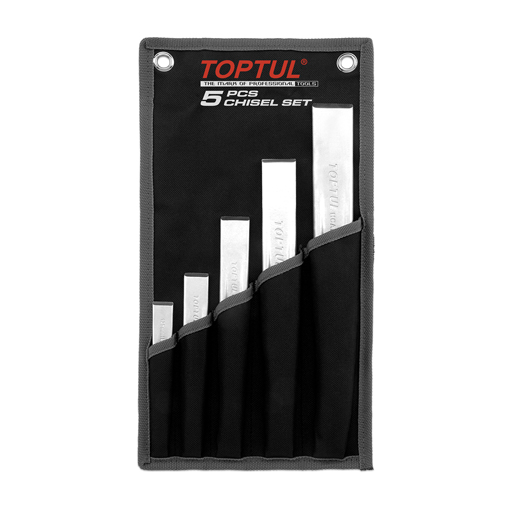 TOPTUL 5 Piece Ribbed Flat Chisel Set