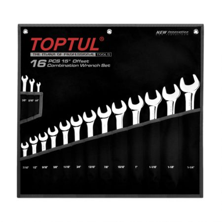 TOPTUL 16 Piece Imperial Standard Combination Wrench Set