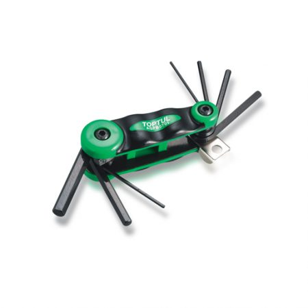 TOPTUL 7-in-1 Foldable Hex Key Wrench Set